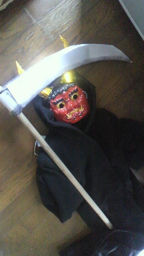 節分のために自作した鬼のコスプレと鎌